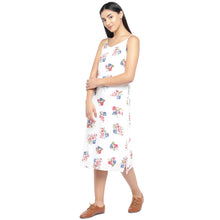 Load image into Gallery viewer, White & Pink Printed A-Line Dress-2