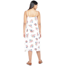 Load image into Gallery viewer, White & Pink Printed A-Line Dress-3