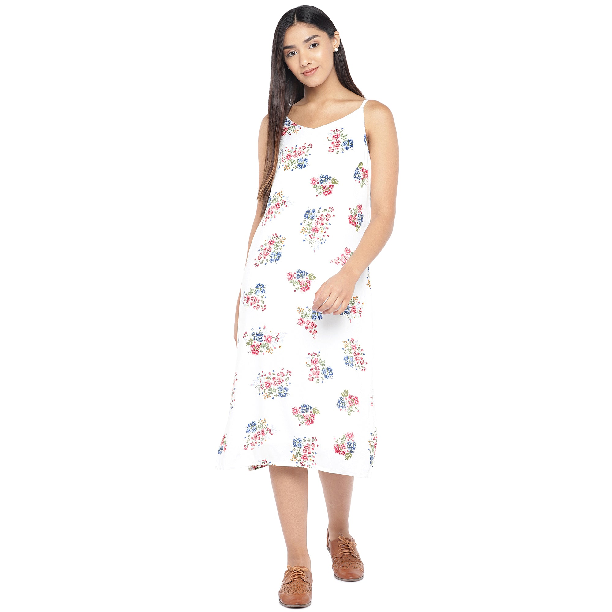 White & Pink Printed A-Line Dress-4