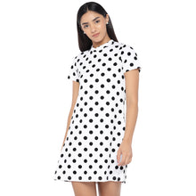 Load image into Gallery viewer, White & Black Printed A-Line Dress-1