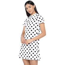 Load image into Gallery viewer, White & Black Printed A-Line Dress-2