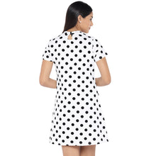 Load image into Gallery viewer, White & Black Printed A-Line Dress-3
