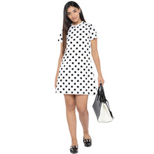 Load image into Gallery viewer, White & Black Printed A-Line Dress-4