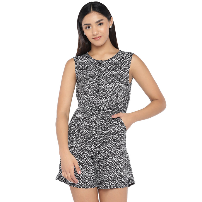 Black & Off-White Printed Playsuit-1