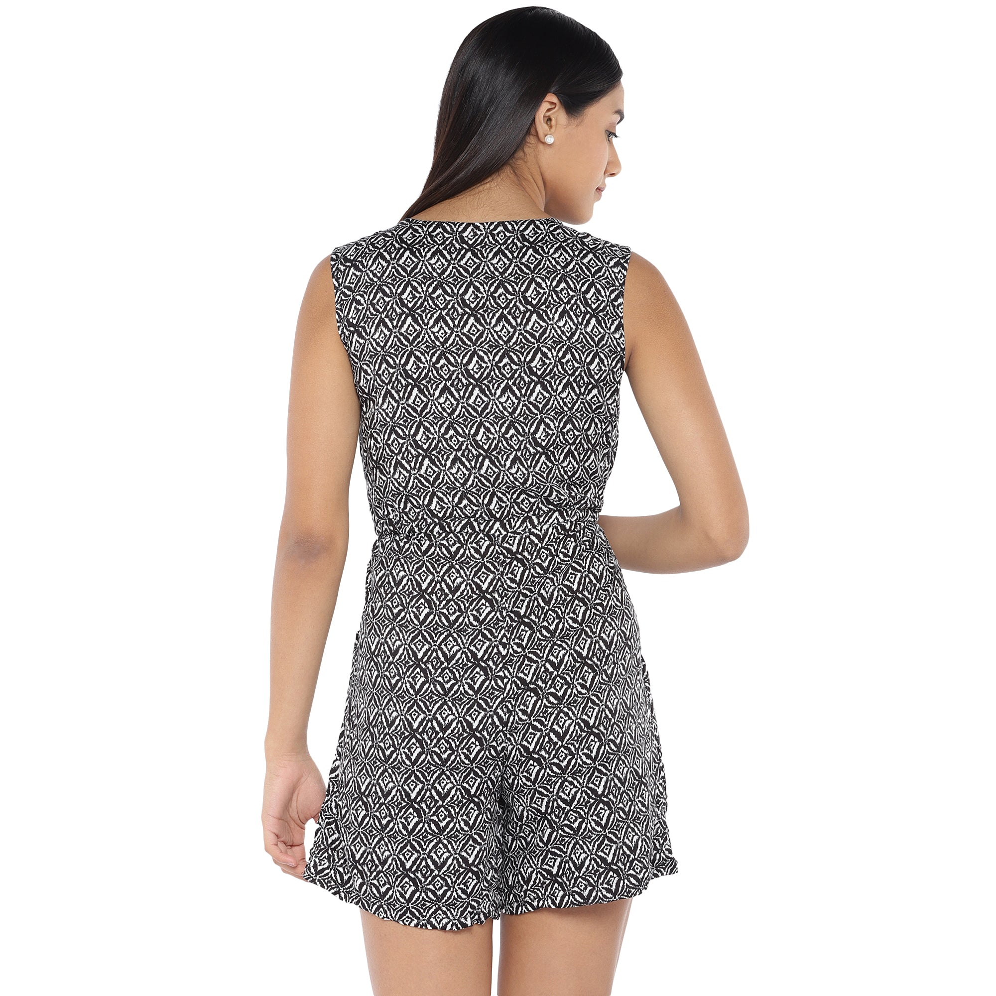 Black & Off-White Printed Playsuit-3