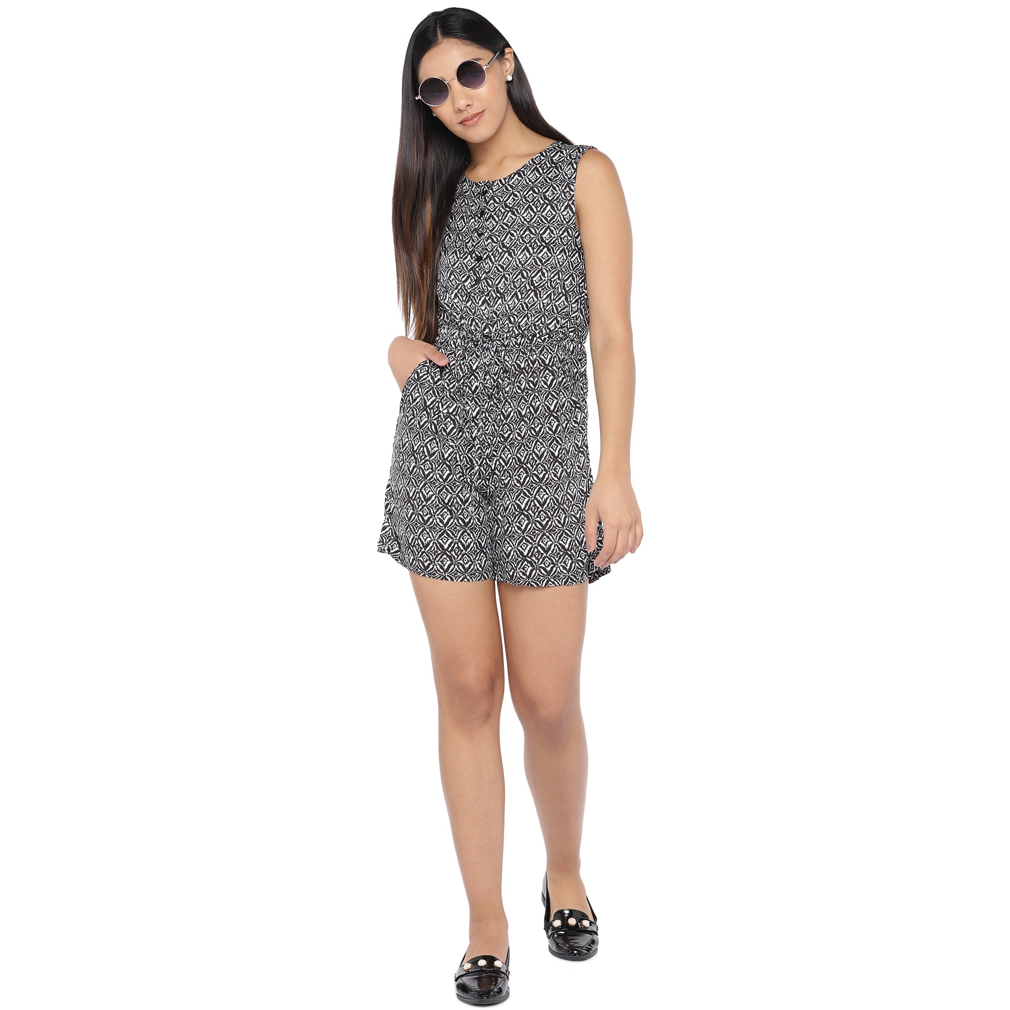 Black & Off-White Printed Playsuit-4