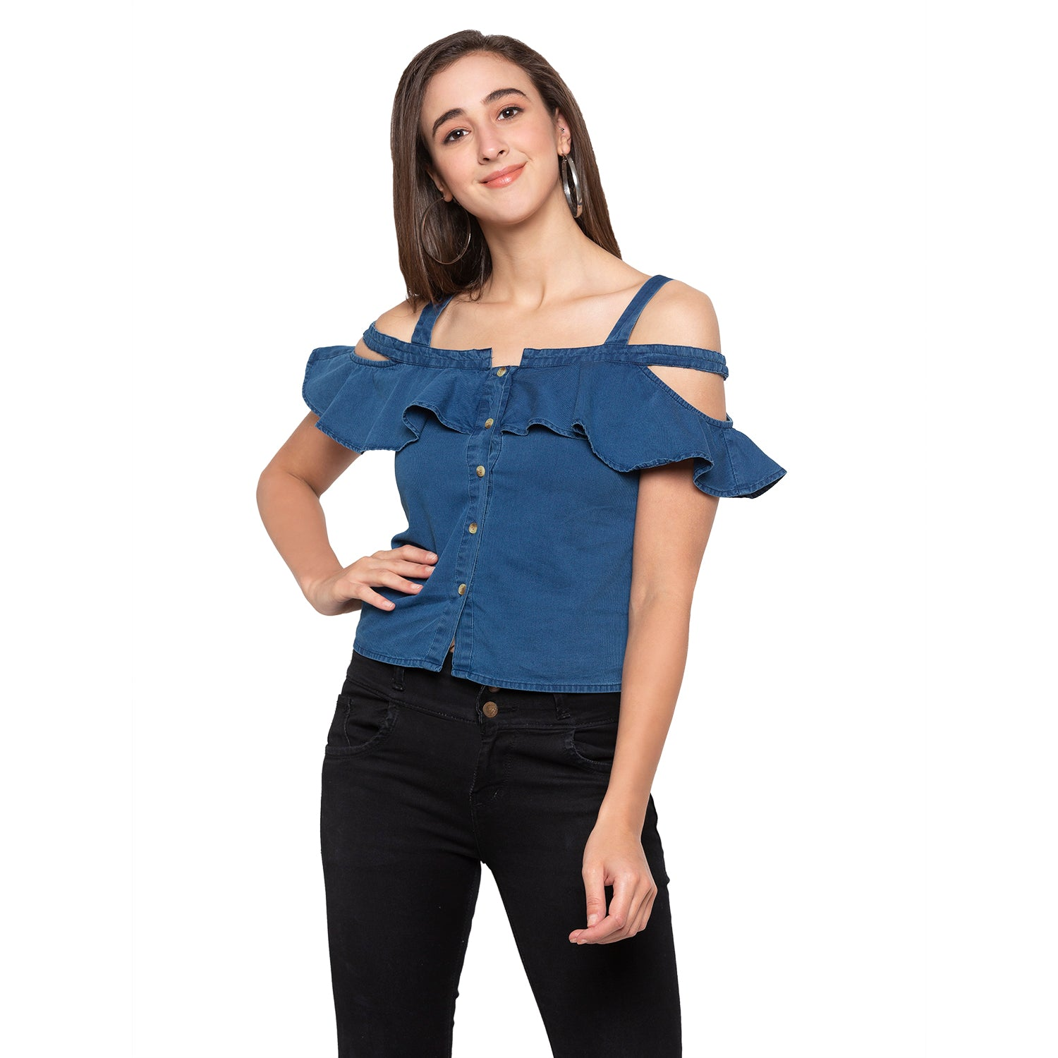 Blue Solid Top-1