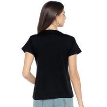 Load image into Gallery viewer, Black Printed Round Neck T-shirt-3