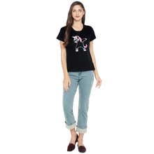 Load image into Gallery viewer, Black Printed Round Neck T-shirt-4