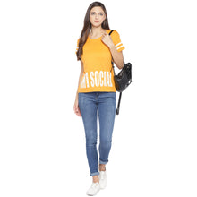 Load image into Gallery viewer, Mustard Printed Round Neck T-shirt-4