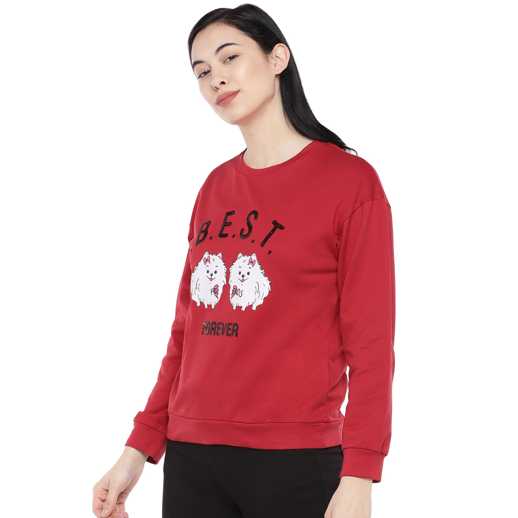 Red Printed Sweatshirt-2