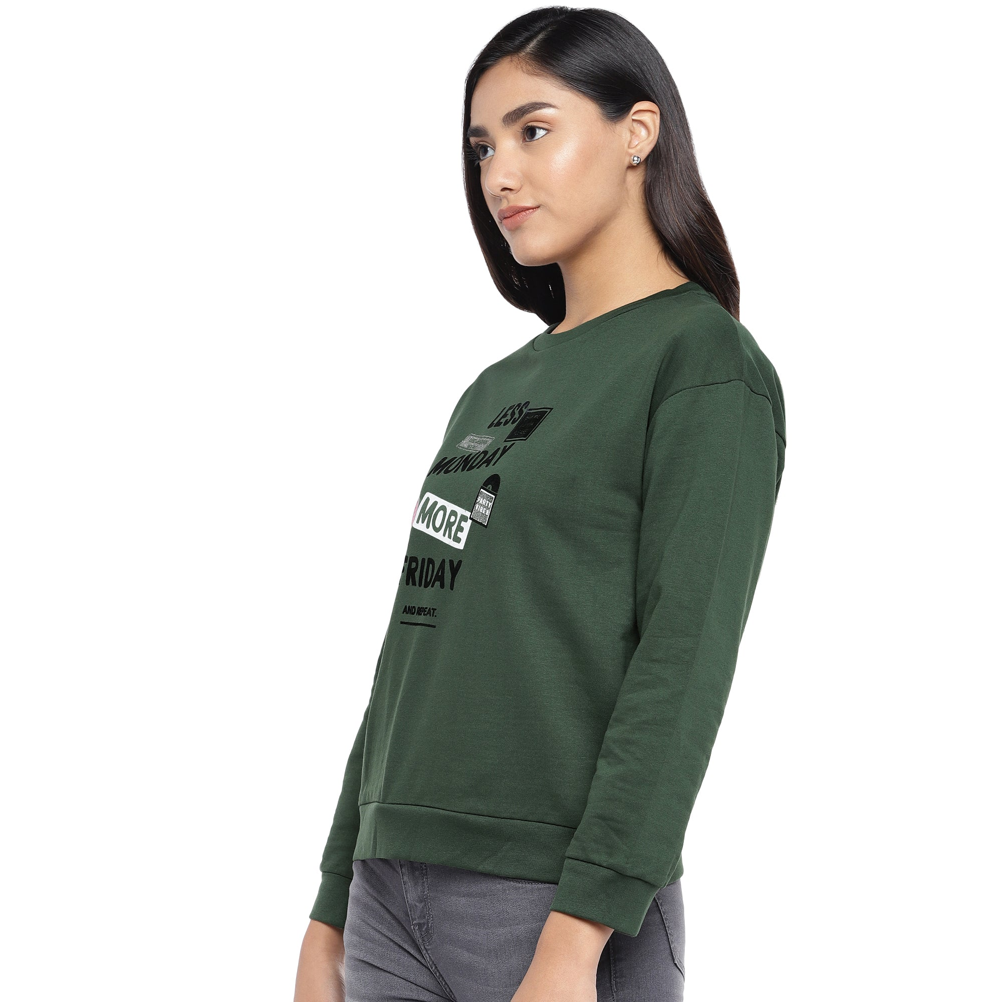 Olive Green & Black Printed Sweatshirt-2