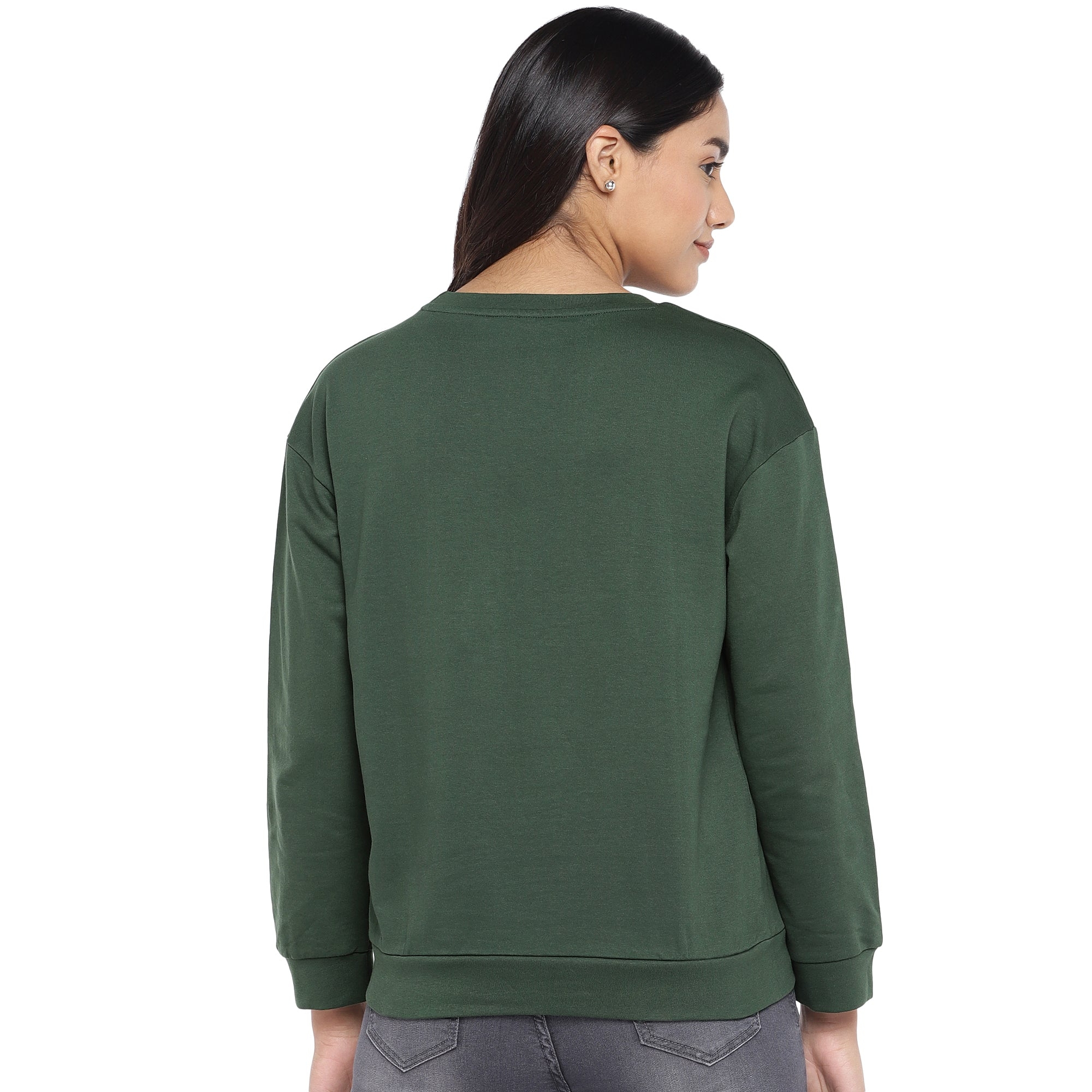 Olive Green & Black Printed Sweatshirt-3