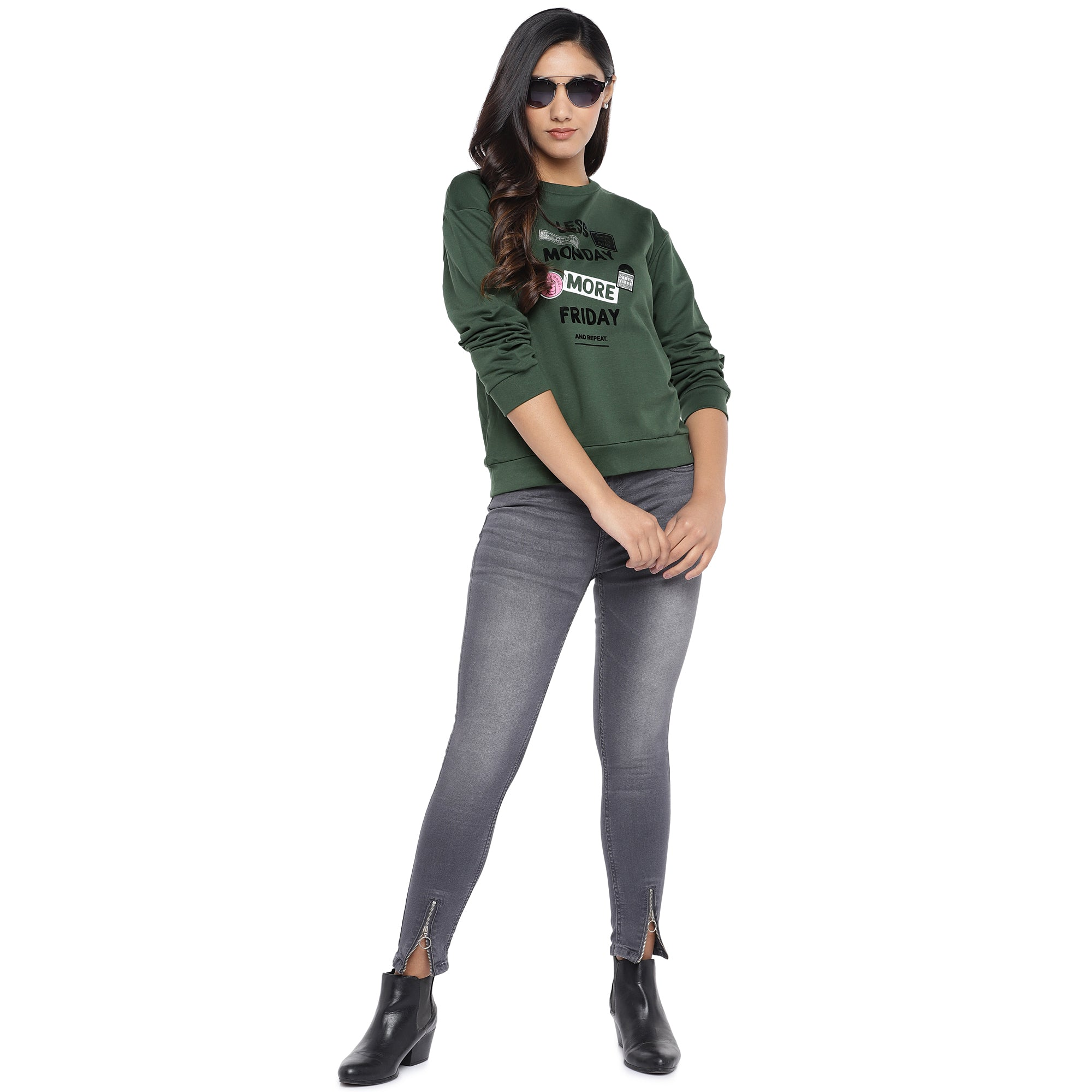 Olive Green & Black Printed Sweatshirt-4