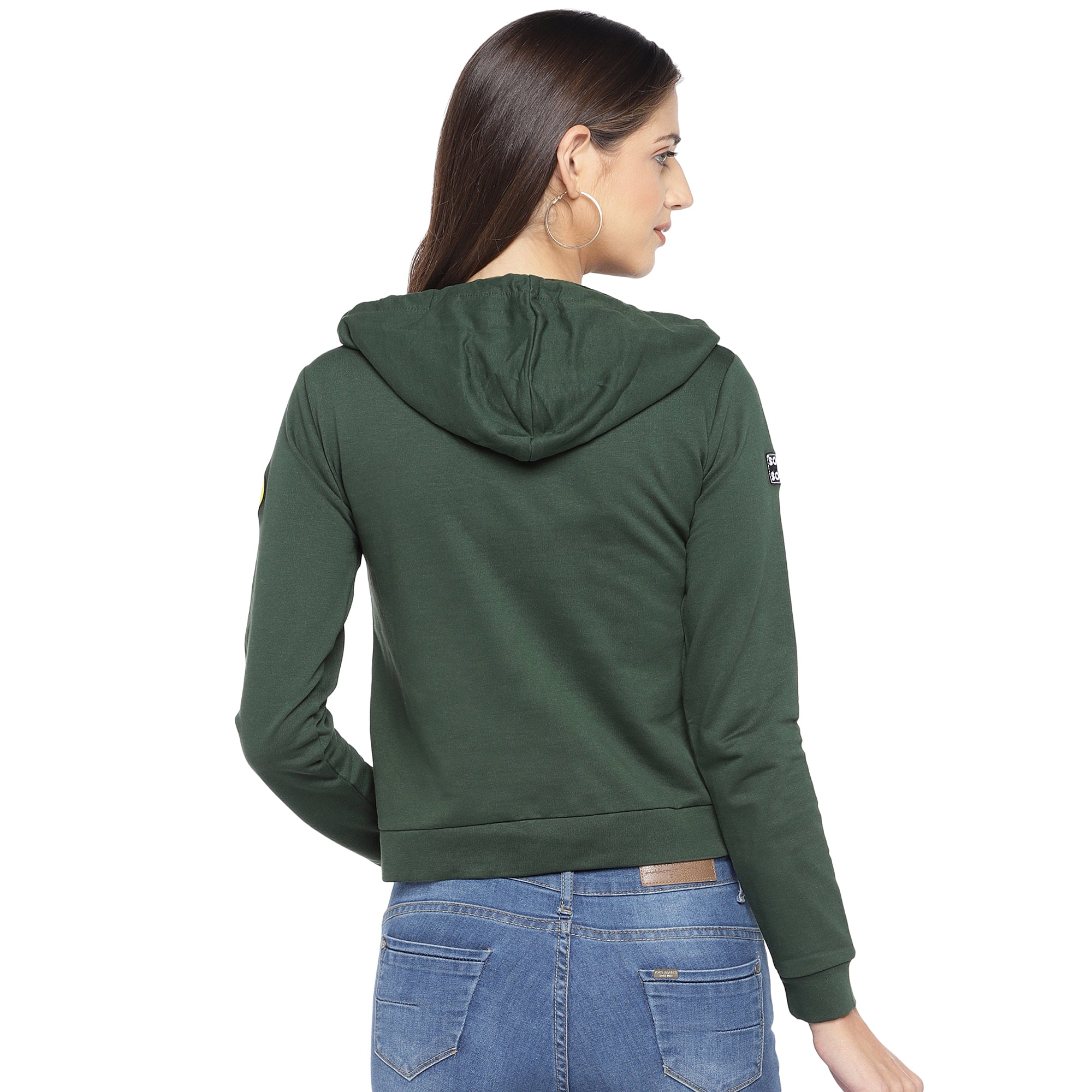 Olive Green & Yellow Printed Hooded Sweatshirt-3