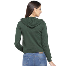 Load image into Gallery viewer, Olive Green & Yellow Printed Hooded Sweatshirt-3
