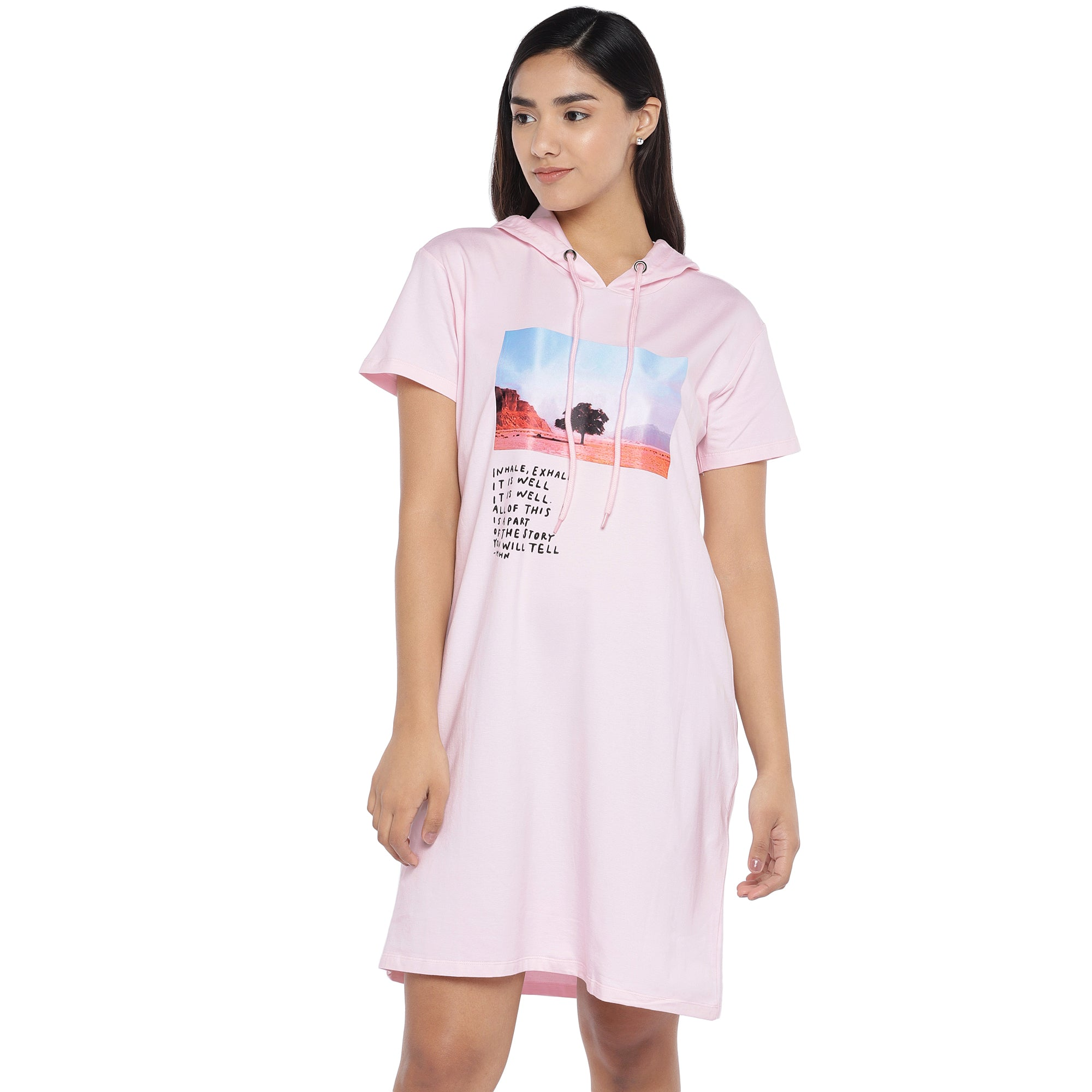 Pink Printed Hooded T-shirt Dress-1
