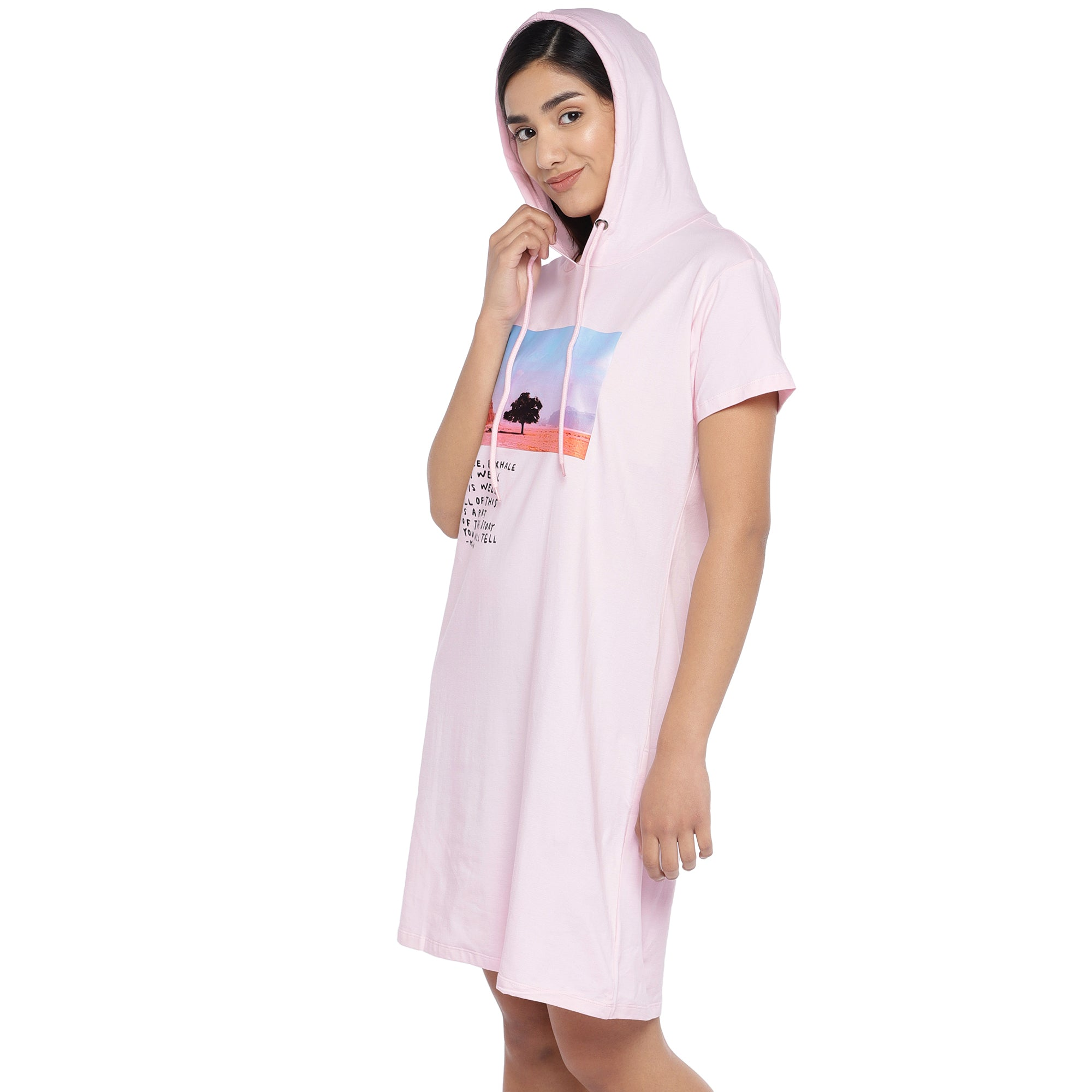 Pink Printed Hooded T-shirt Dress-2