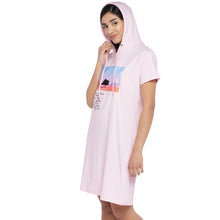 Load image into Gallery viewer, Pink Printed Hooded T-shirt Dress-2