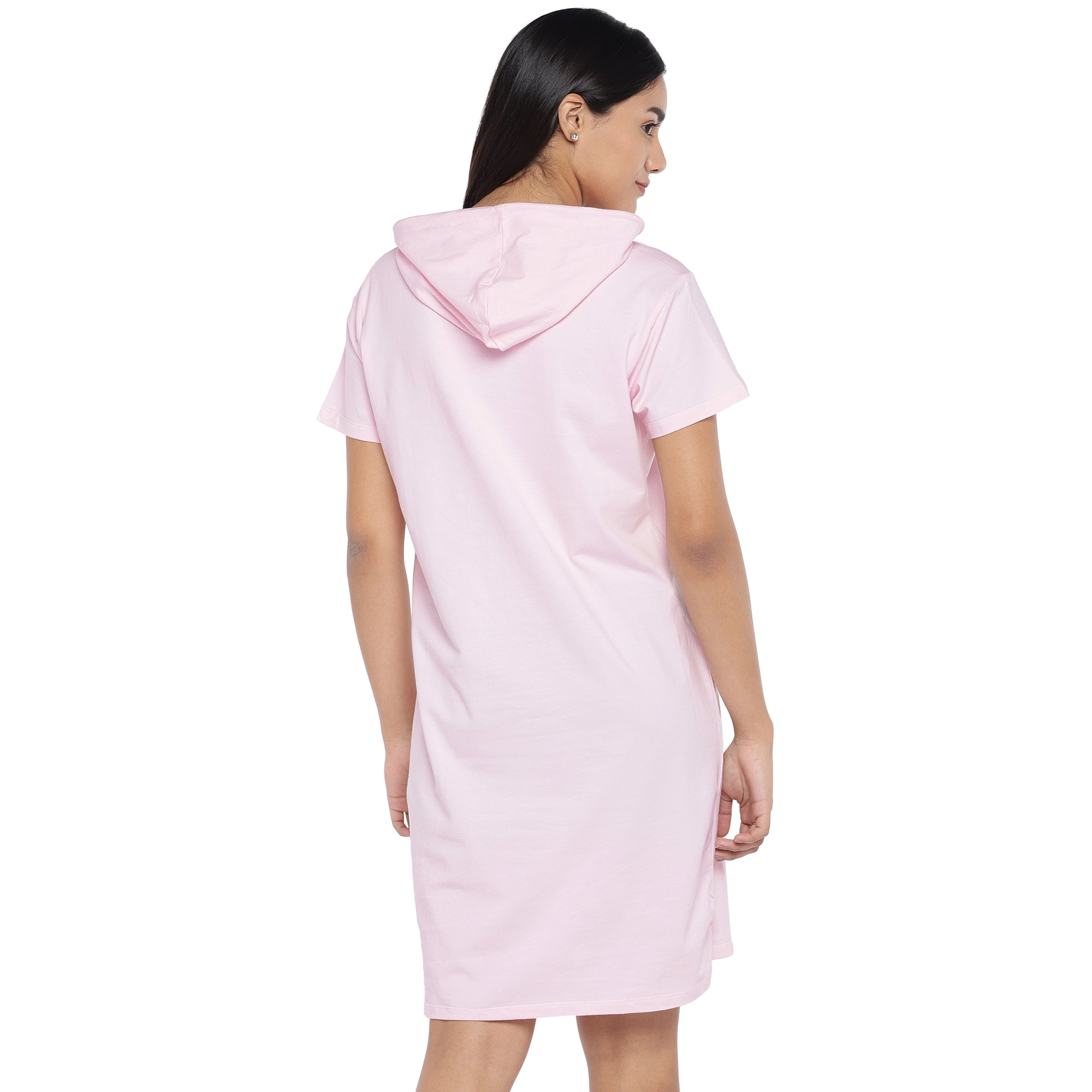 Pink Printed Hooded T-shirt Dress-3