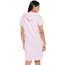 Load image into Gallery viewer, Pink Printed Hooded T-shirt Dress-3