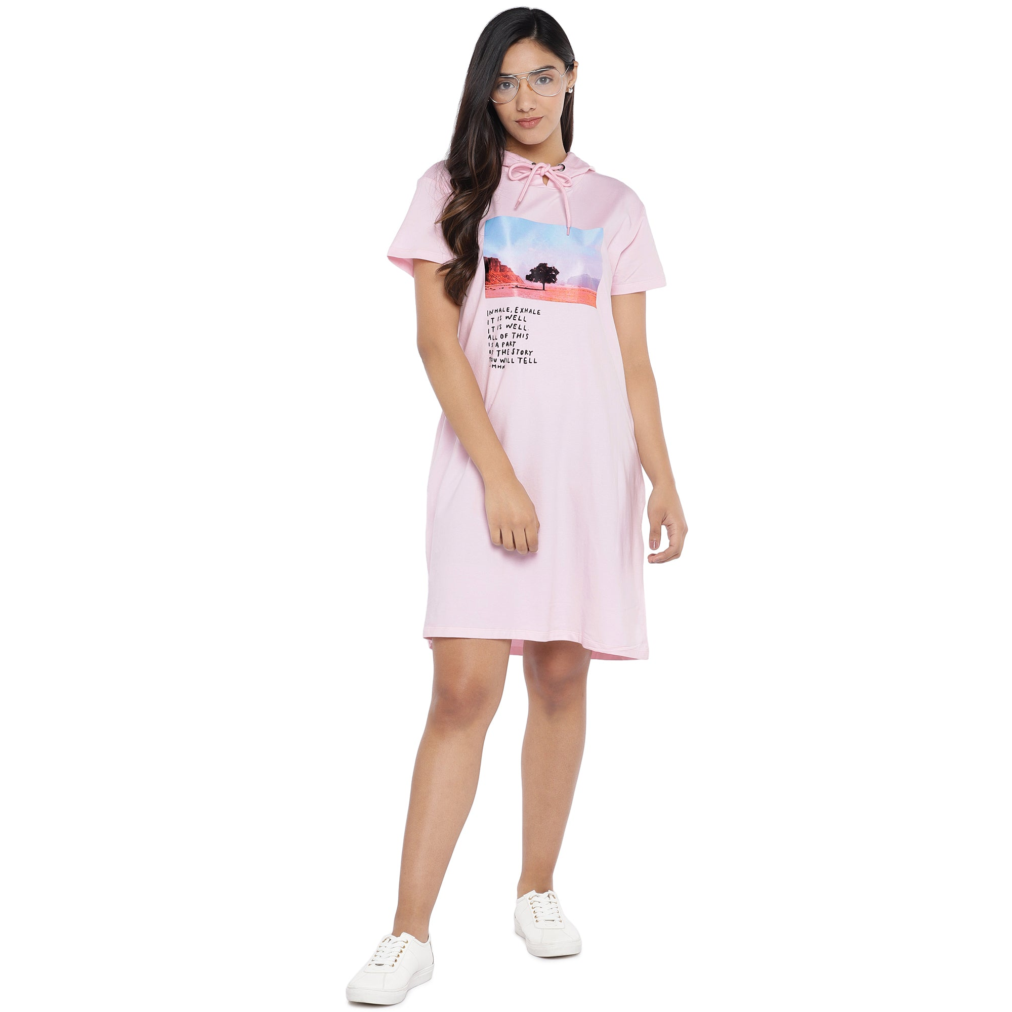 Pink Printed Hooded T-shirt Dress-4