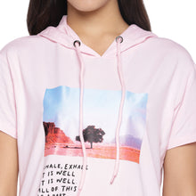 Load image into Gallery viewer, Pink Printed Hooded T-shirt Dress-5
