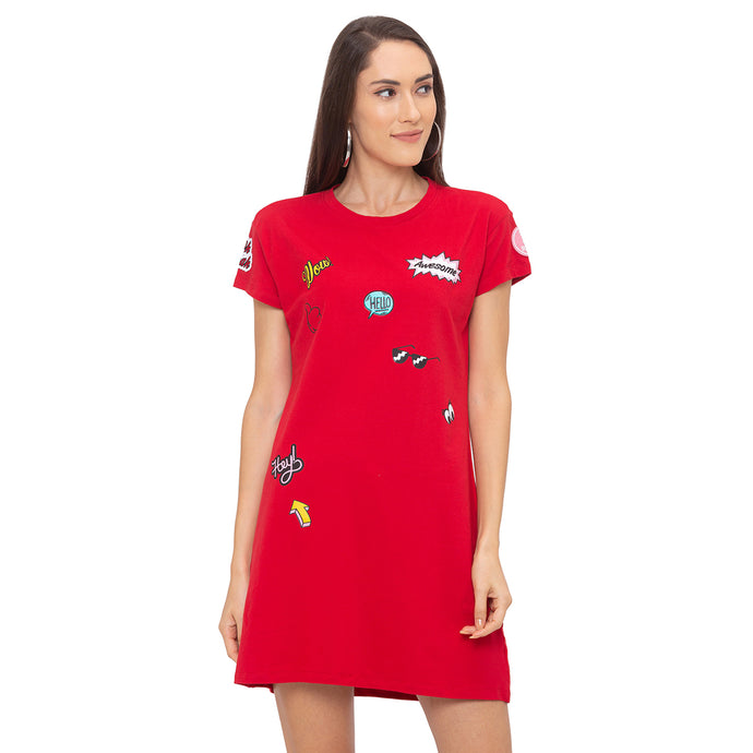 Globus Red Printed Dress-1