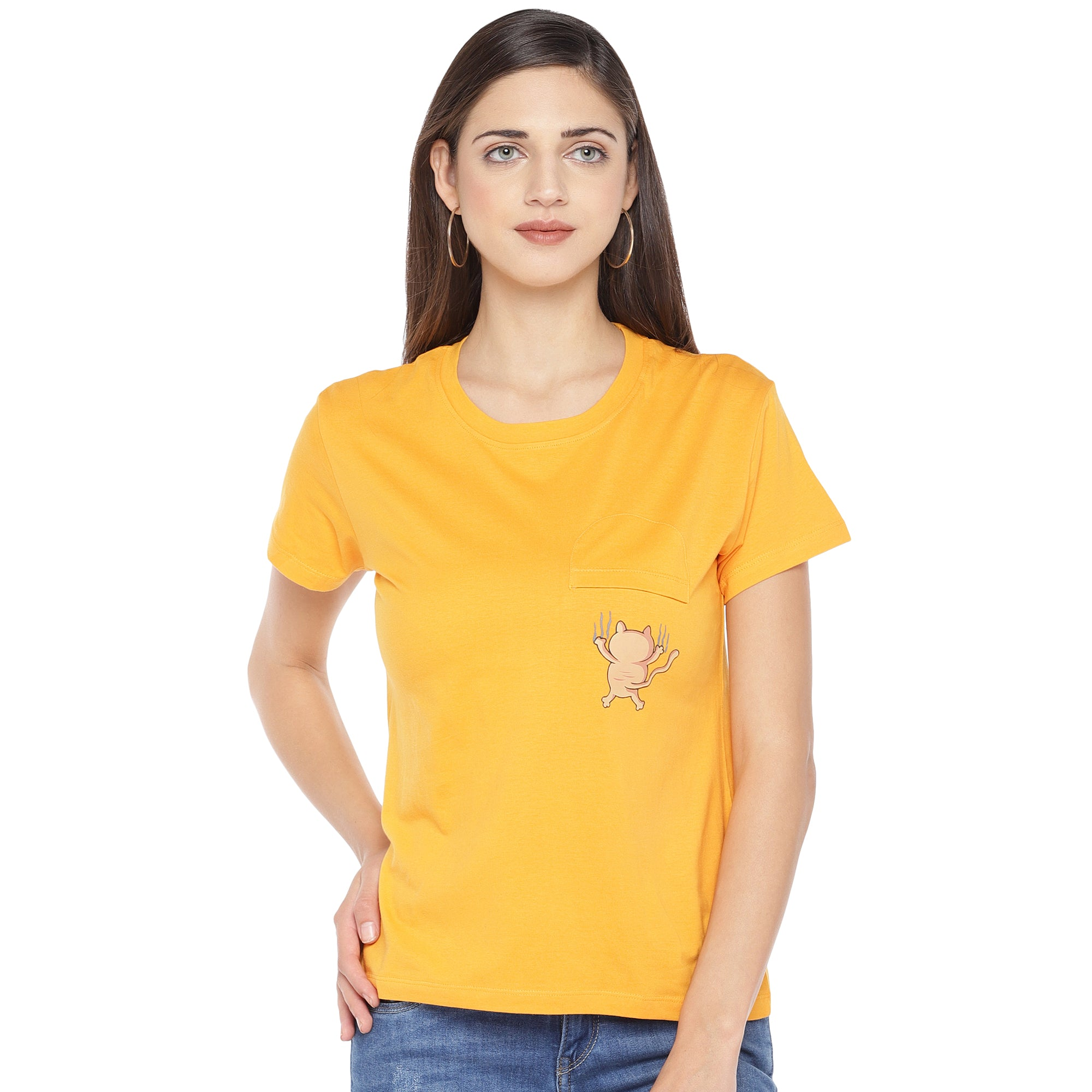Mustard Yellow Solid Round Neck T-shirt-1