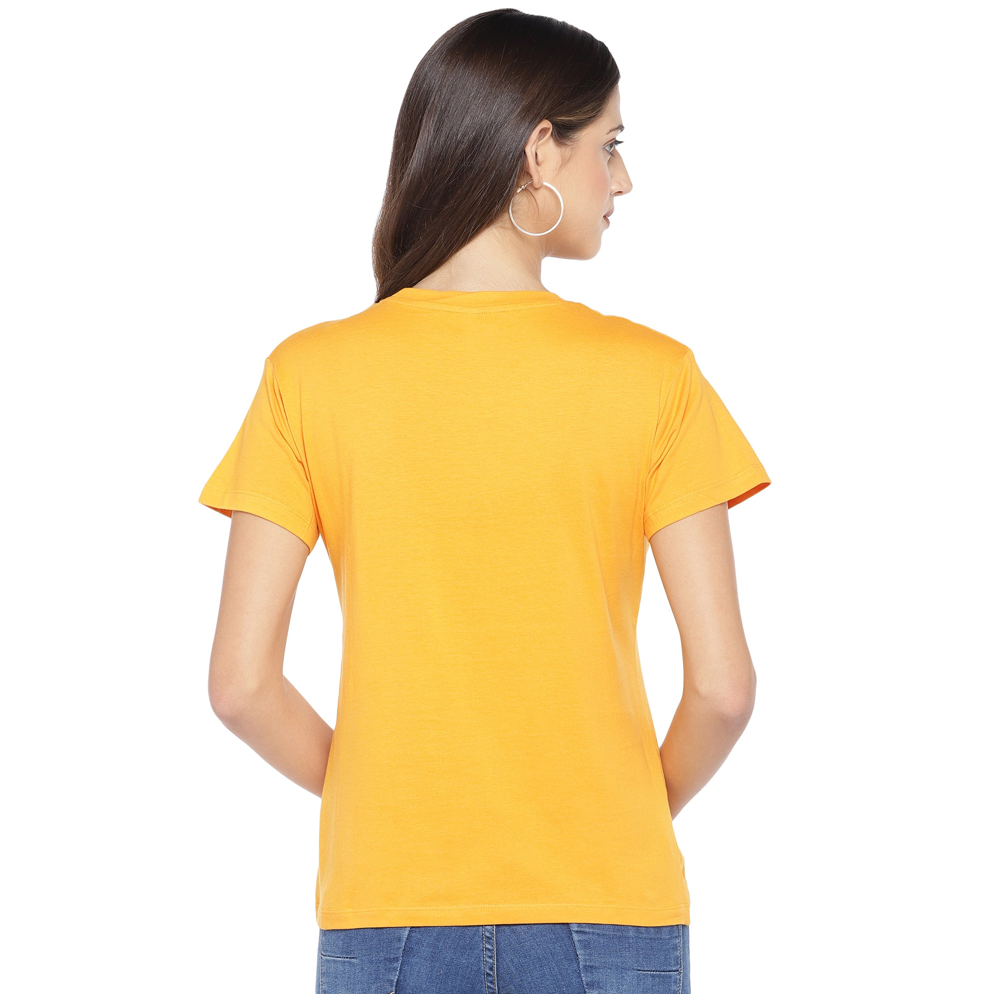 Mustard Yellow Solid Round Neck T-shirt-3