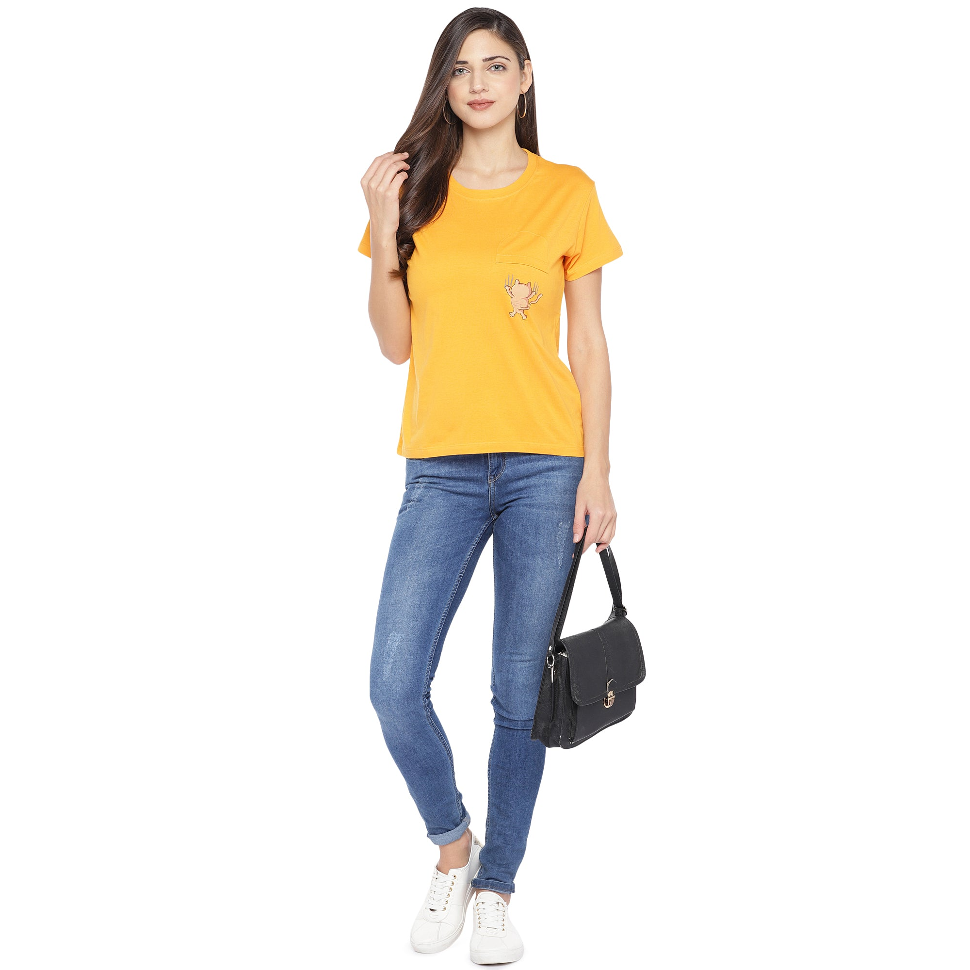 Mustard Yellow Solid Round Neck T-shirt-4