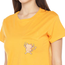 Load image into Gallery viewer, Mustard Yellow Solid Round Neck T-shirt-5