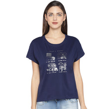 Load image into Gallery viewer, Navy Blue Printed Round Neck T-shirt-1