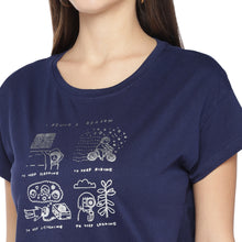 Load image into Gallery viewer, Navy Blue Printed Round Neck T-shirt-5