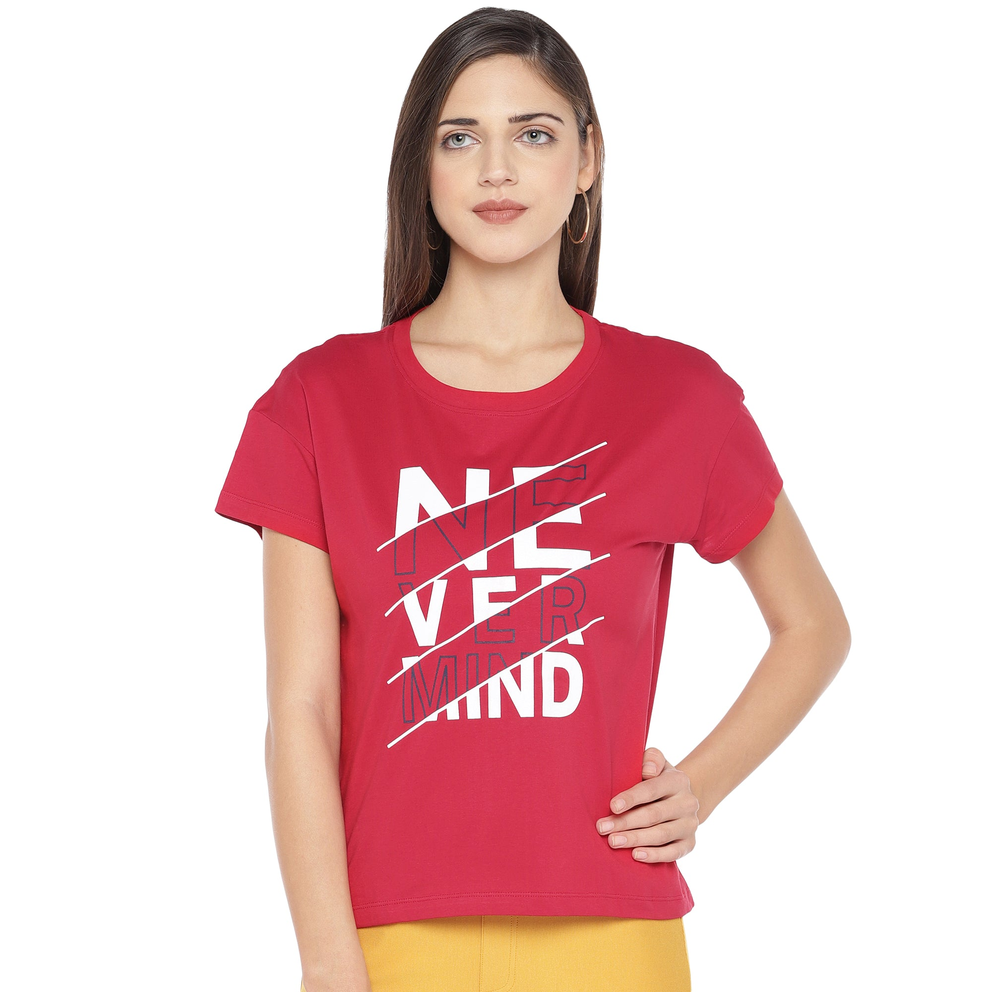 Red Printed Round Neck T-shirt-1