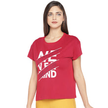 Load image into Gallery viewer, Red Printed Round Neck T-shirt-2