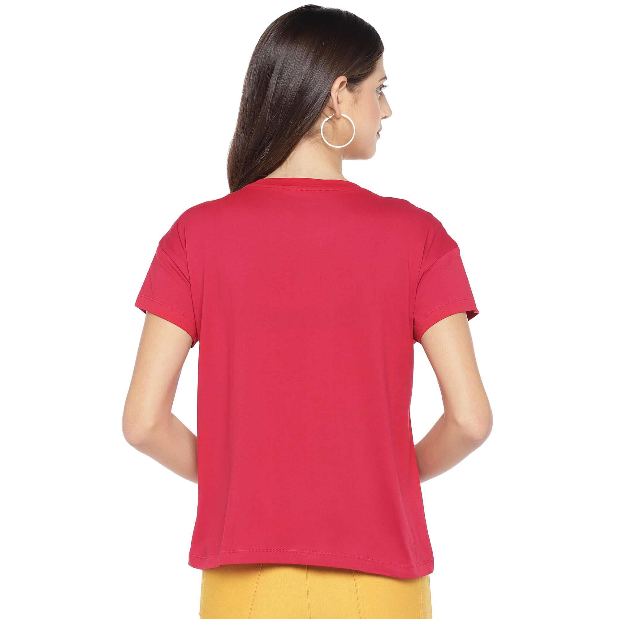 Red Printed Round Neck T-shirt-3
