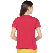 Load image into Gallery viewer, Red Printed Round Neck T-shirt-3