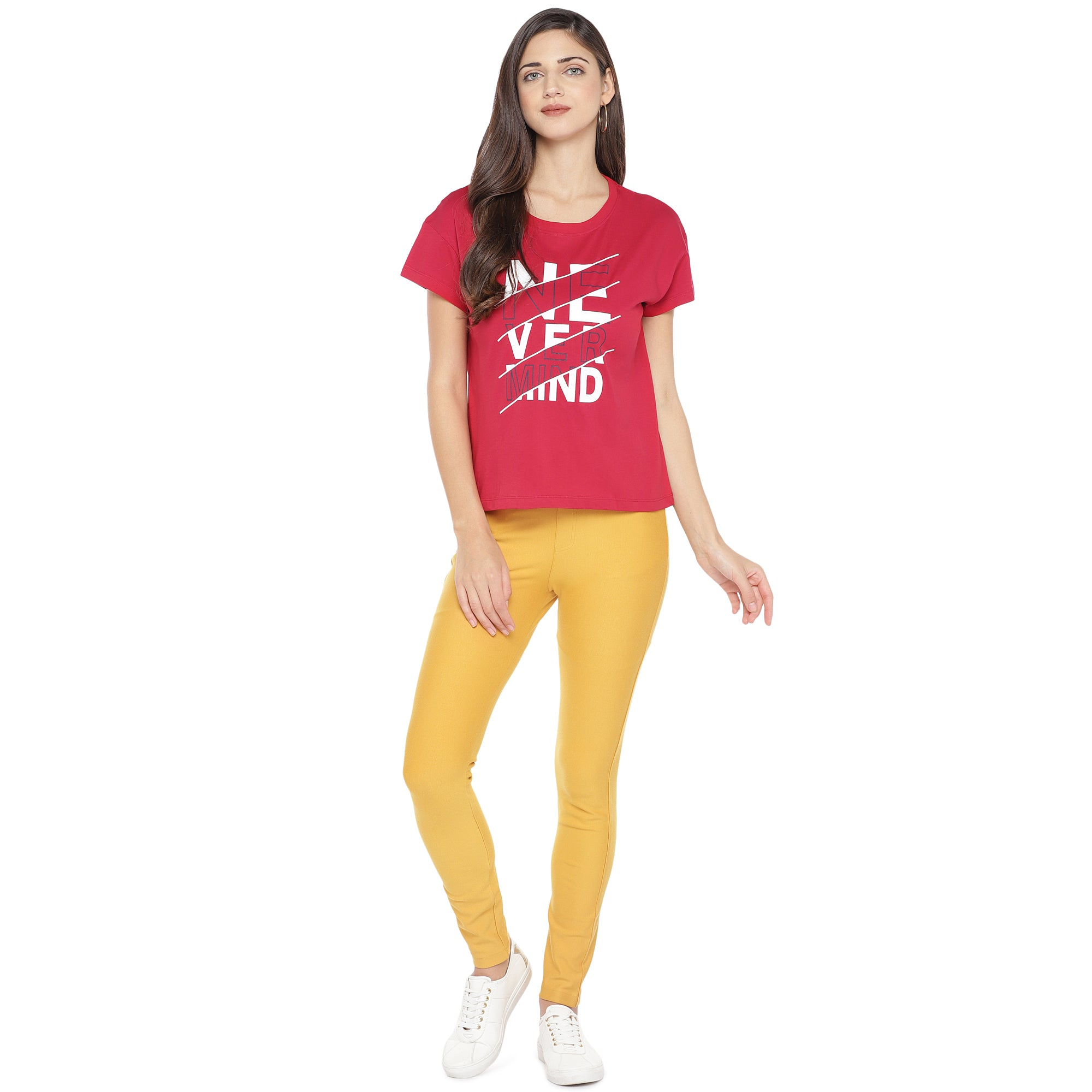 Red Printed Round Neck T-shirt-4