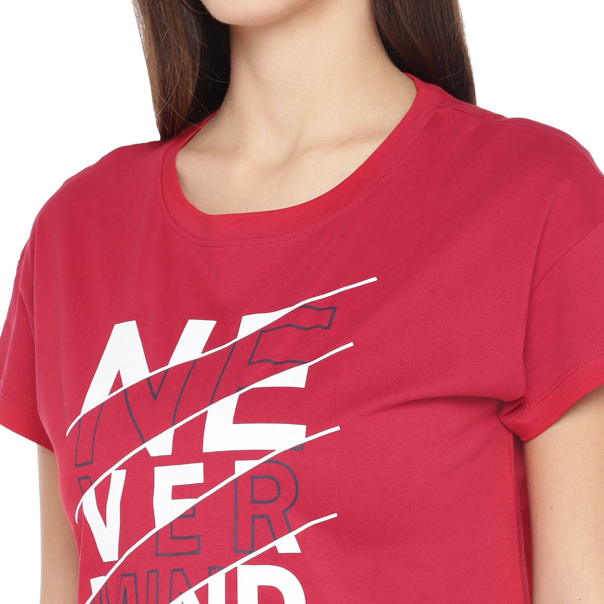 Red Printed Round Neck T-shirt-5