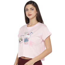 Load image into Gallery viewer, Pink Printed Round Neck T-shirt-2