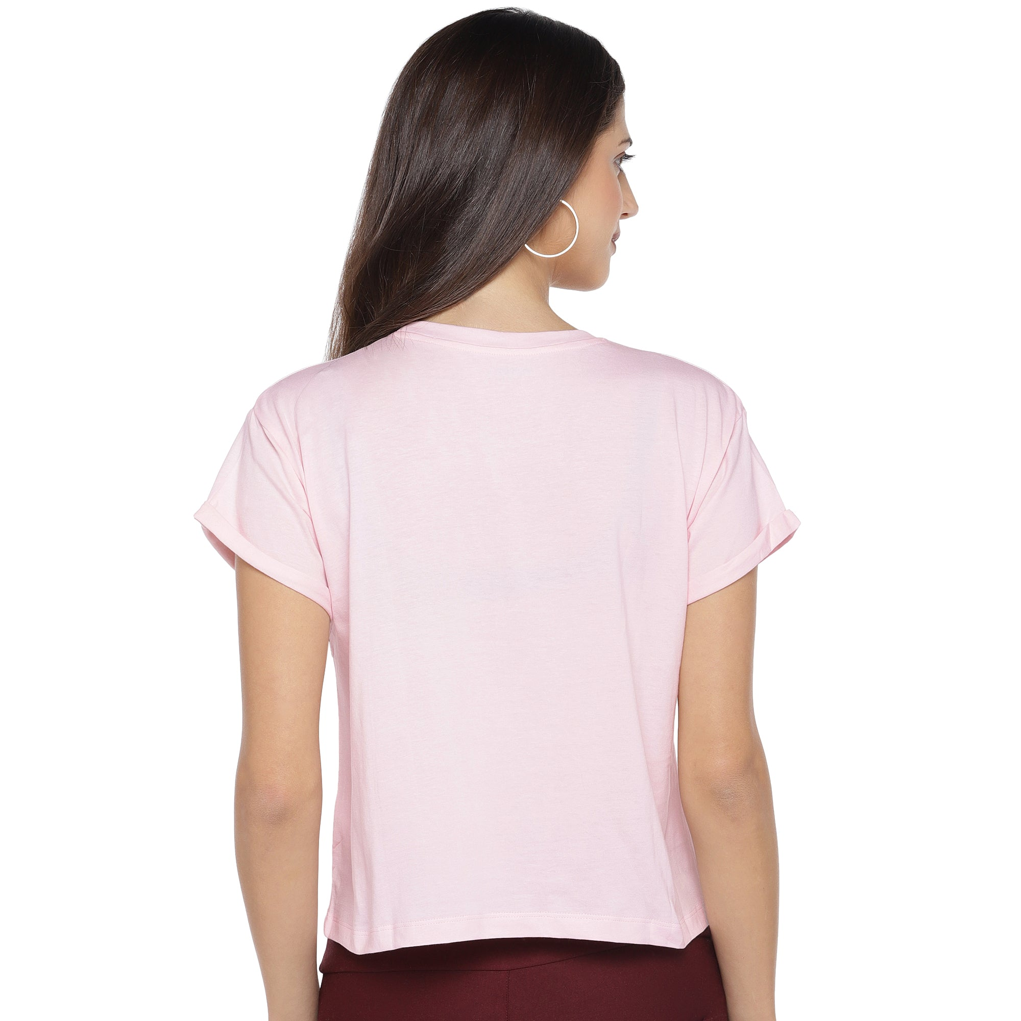 Pink Printed Round Neck T-shirt-3