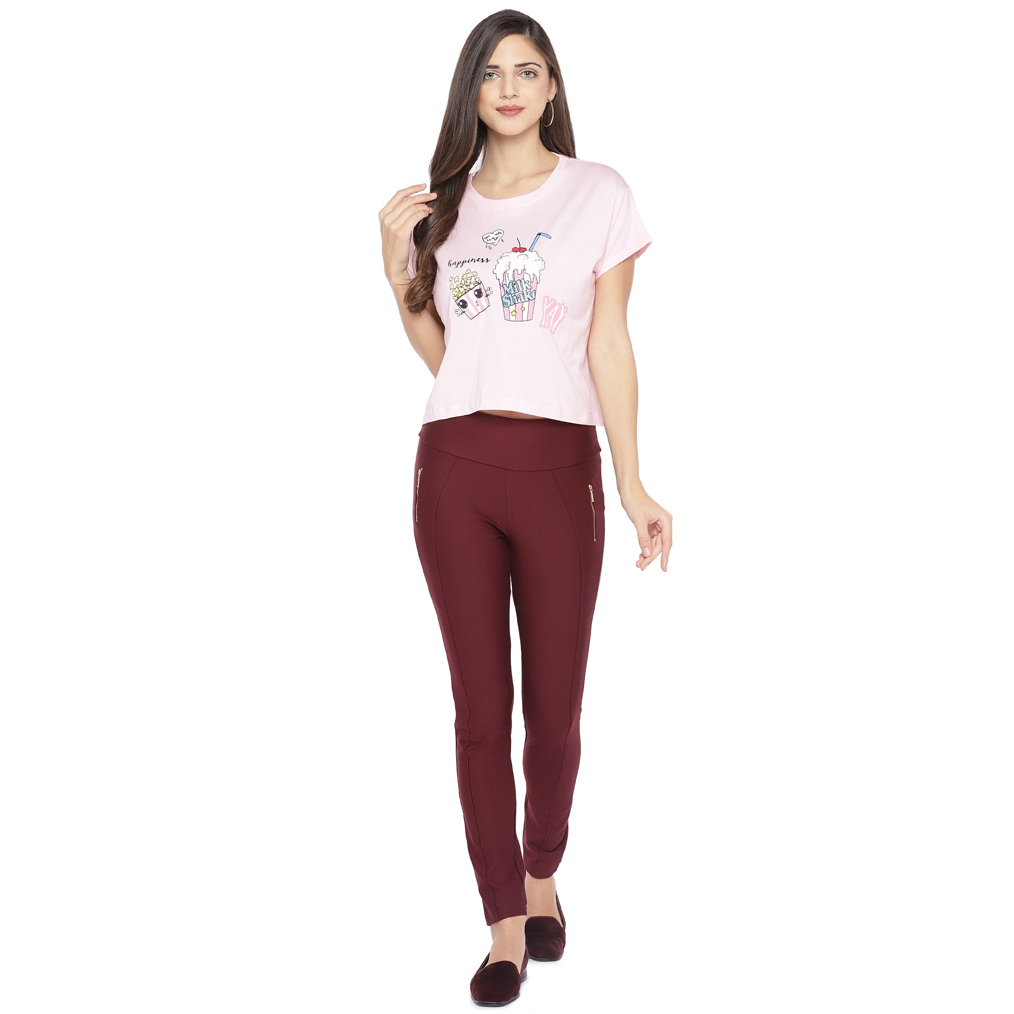 Pink Printed Round Neck T-shirt-4