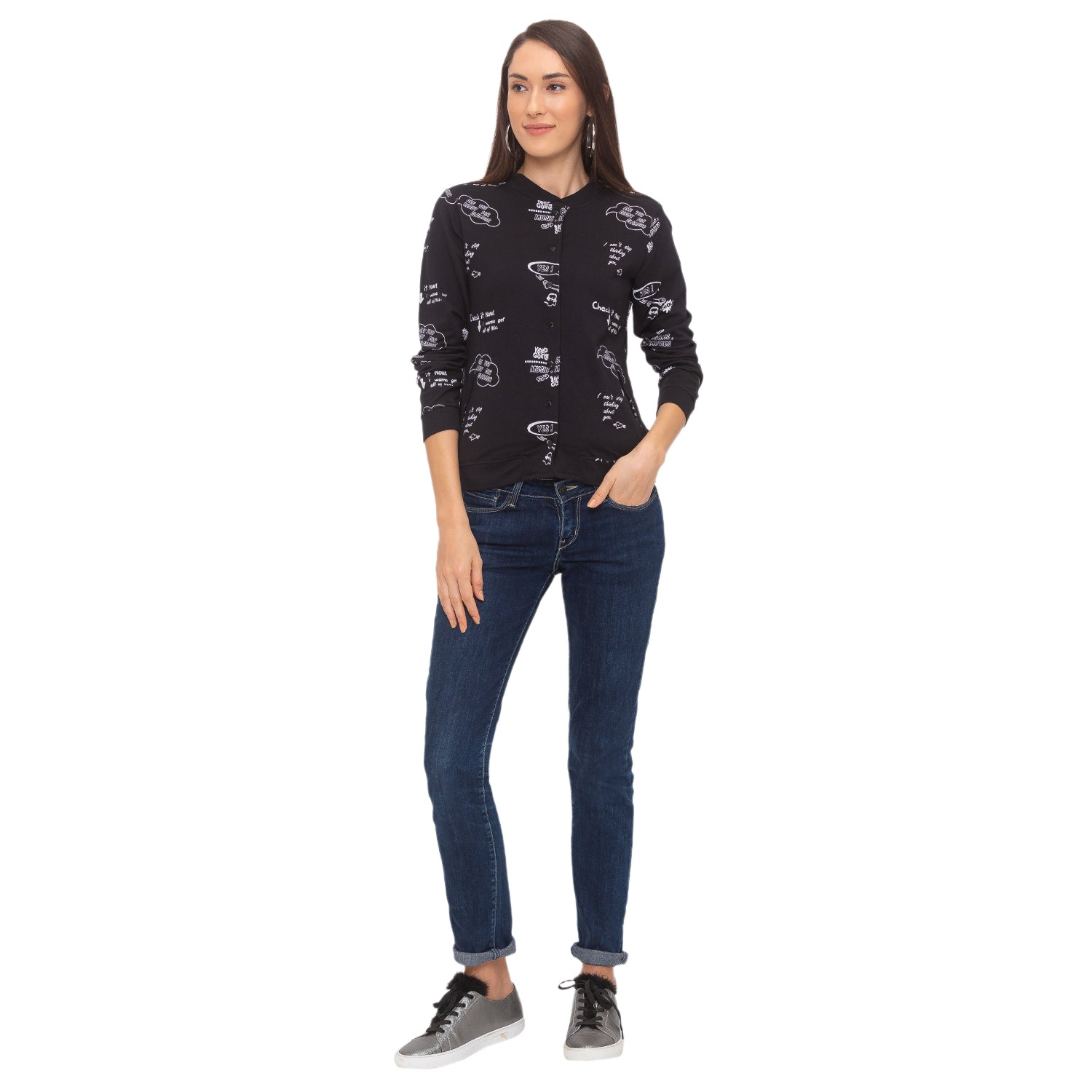 Globus Black Printed Jacket-4