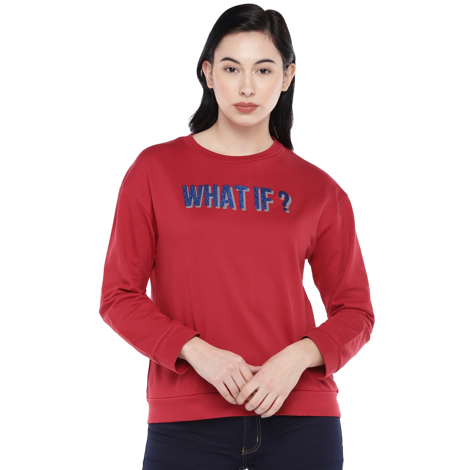 Red Printed Sweatshirt-1