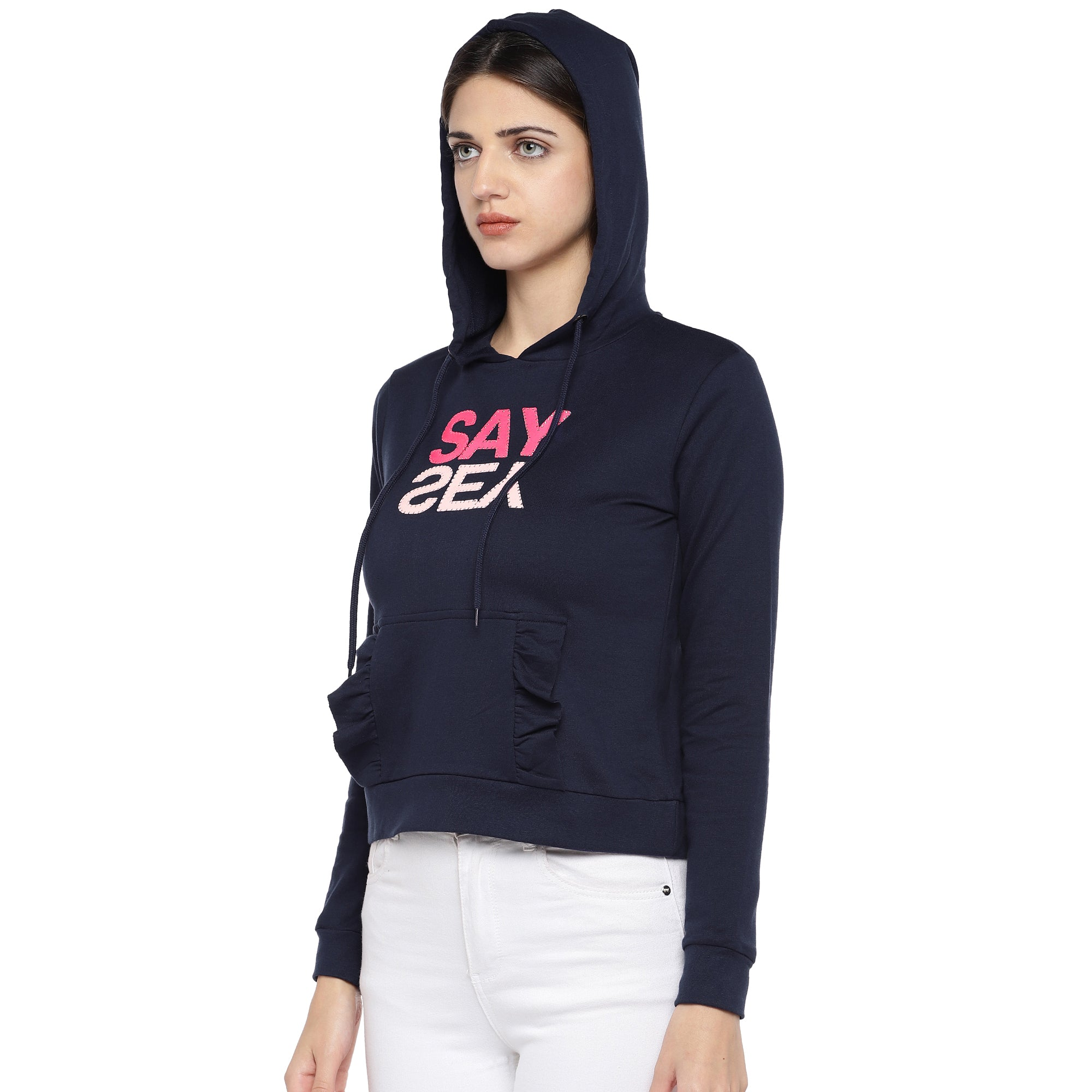 Navy Blue Printed Hooded Sweatshirt-2
