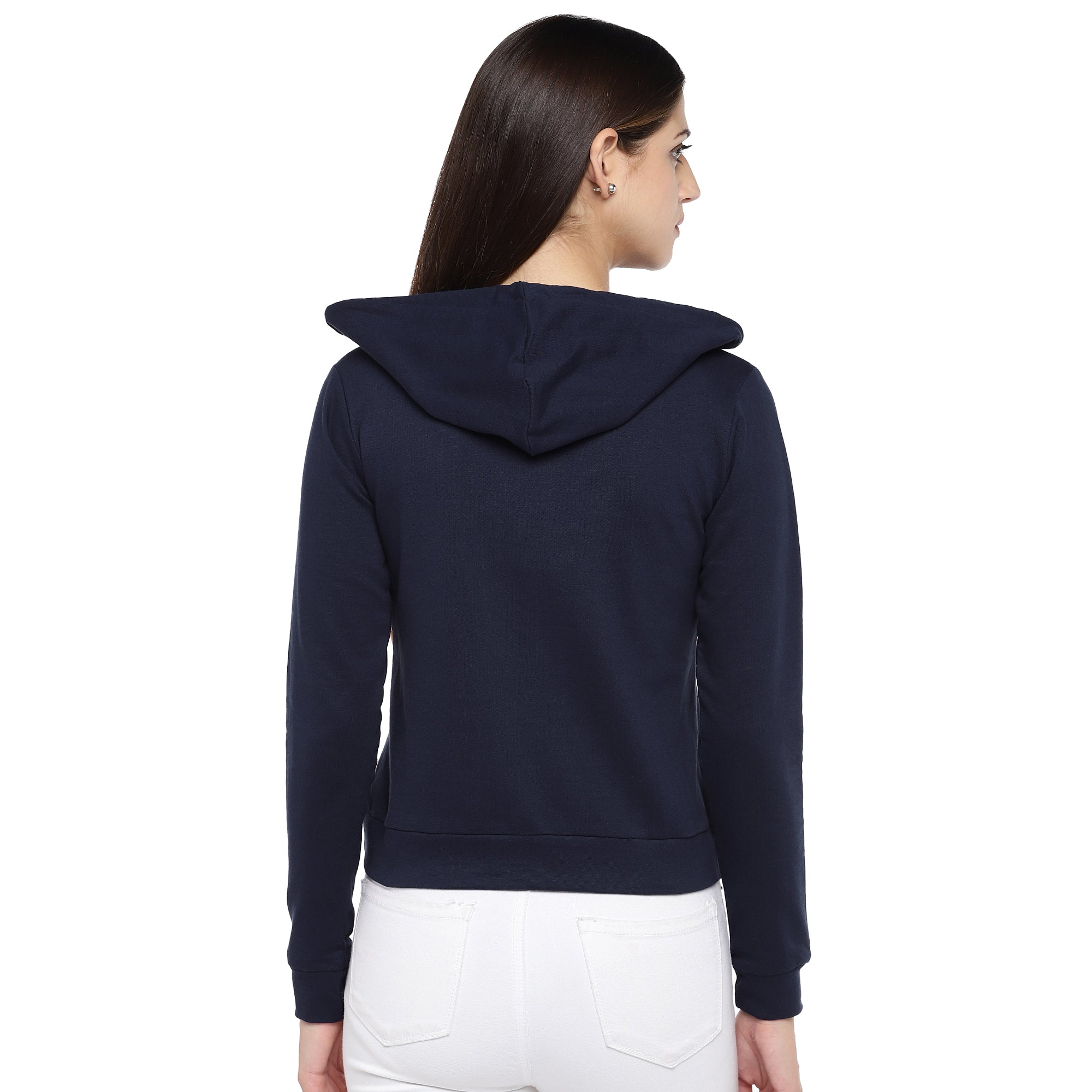 Navy Blue Printed Hooded Sweatshirt-3