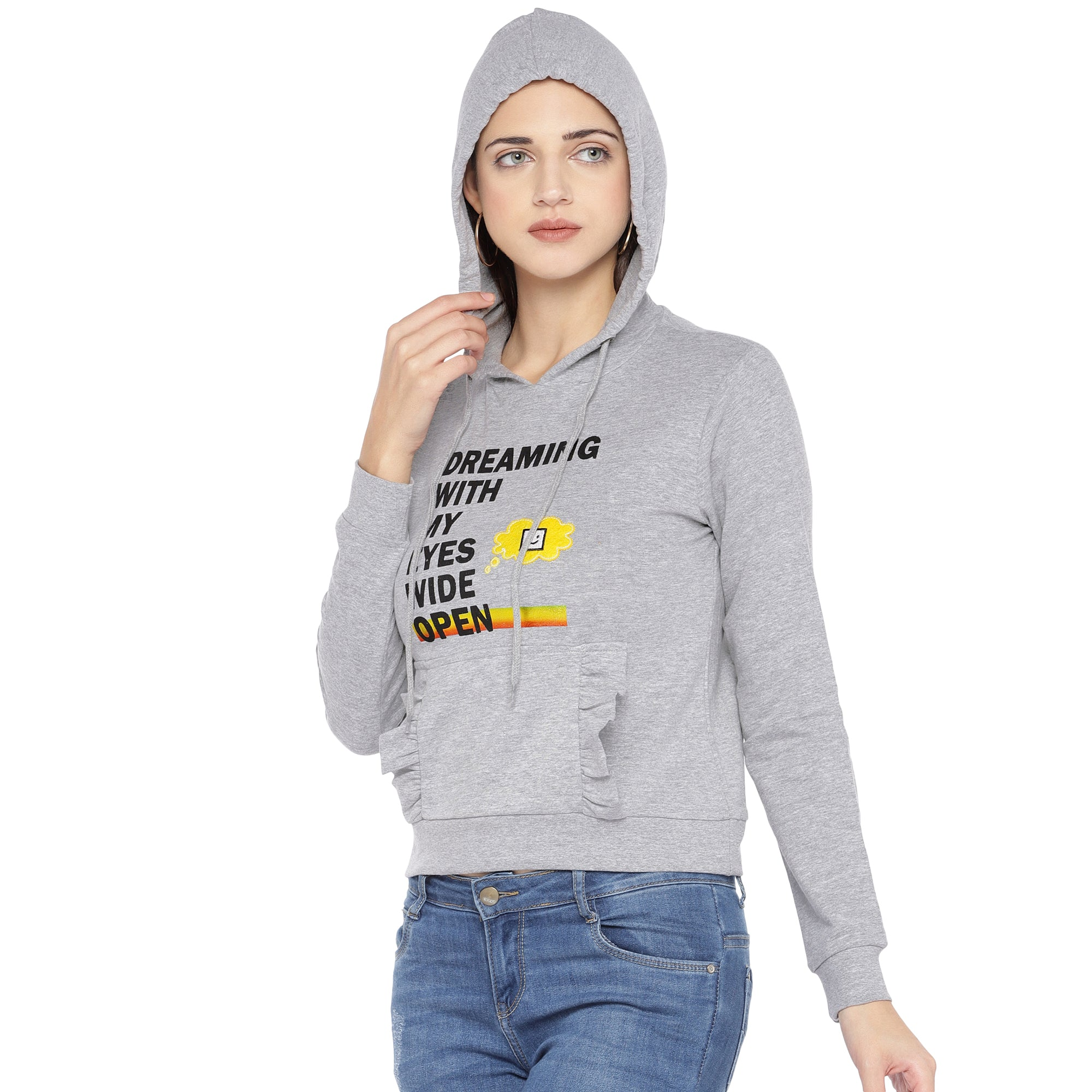 Grey Printed Hooded Sweatshirt-2