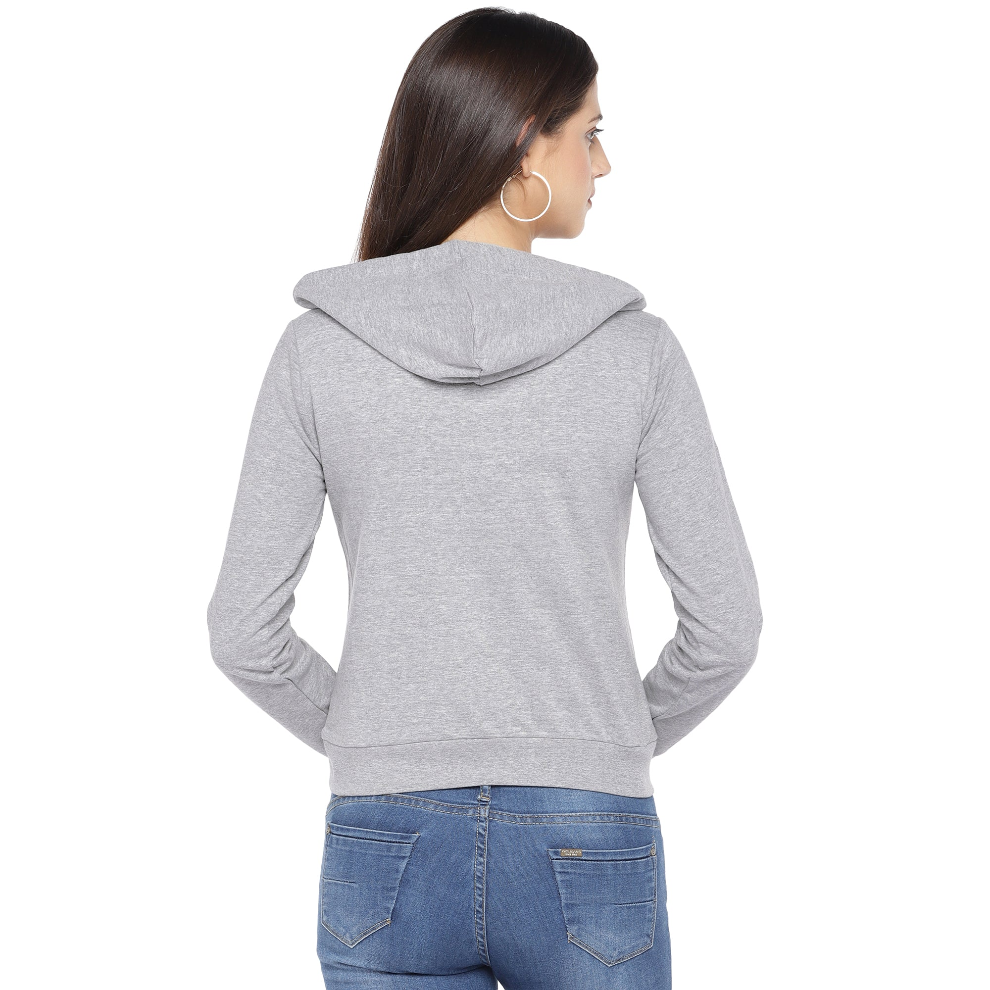 Grey Printed Hooded Sweatshirt-3