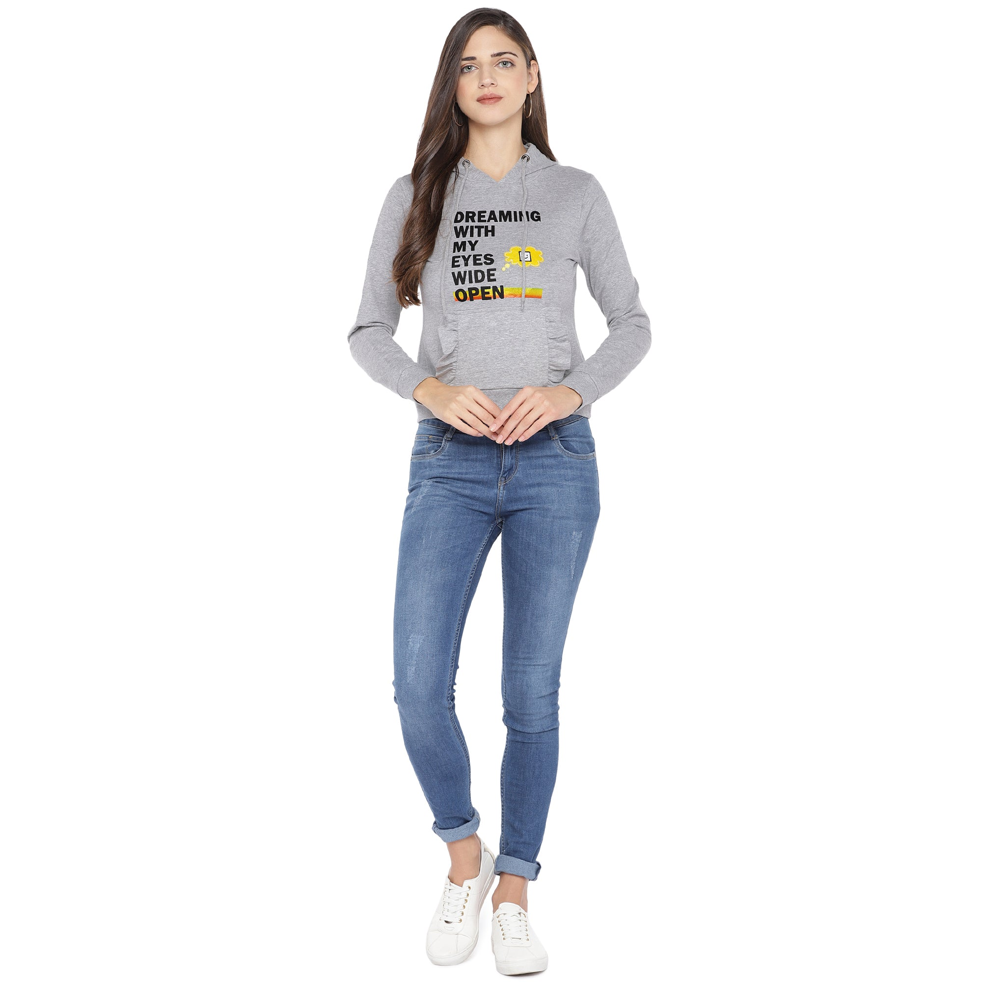 Grey Printed Hooded Sweatshirt-4